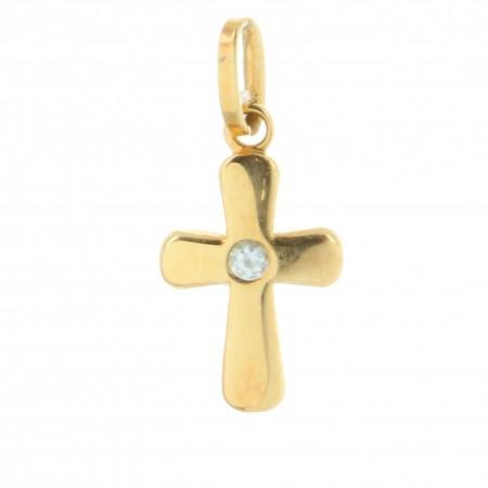 Pendentif Croix en Or 9 carats avec un zircon, 9g