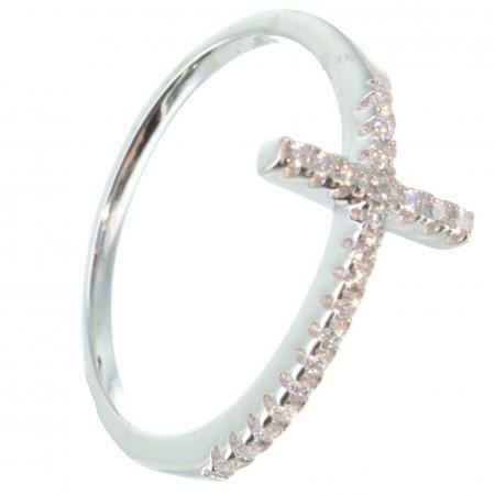 Anello d'argento con croce di strass