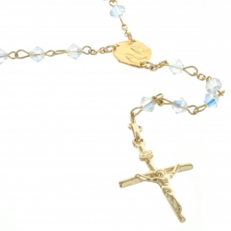 18carats Gold Plated Lourdes Rosary with Swarovski Crystal Beads