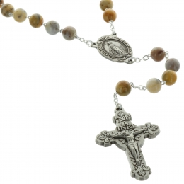 Lourdes sterling silver rosary in agate stone
