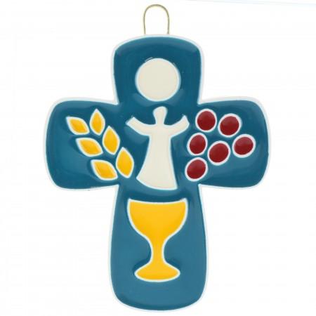Croix de Comunion colorée en résine 7,5cm