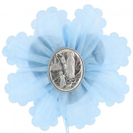 Médaille de Berceau avec une médaille de Lourdes en Argent