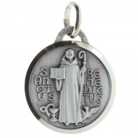 Médaille de Saint Benoît argentée 18mm