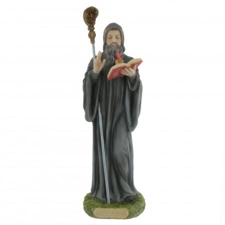 Statue de Saint Benoît en résine colorée 20cm