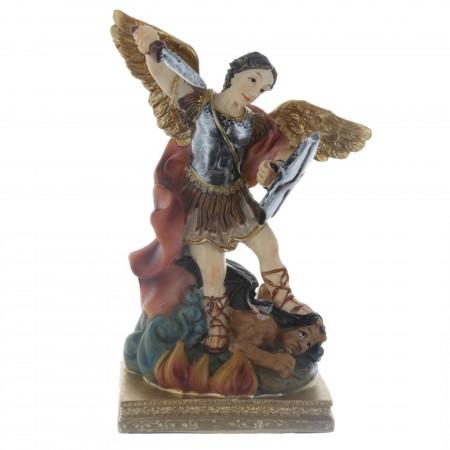 Statue Saint Michel colorée en résine 14 cm