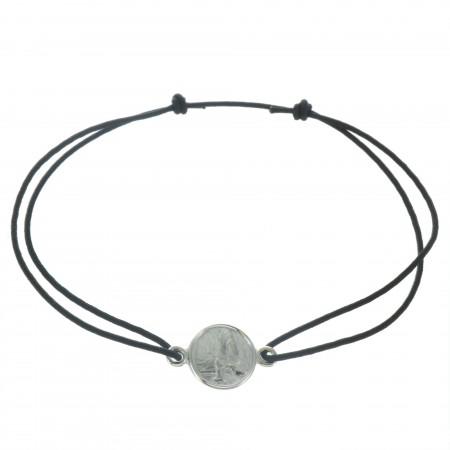 Bracelet de Lourdes en corde avec une médaille en Argent rhodié
