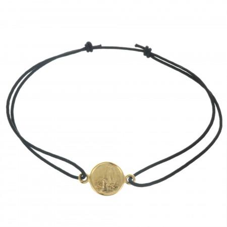 Bracelet de Lourdes en corde avec une médaille en Plaqué Or 18 carats