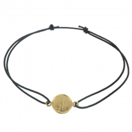 Lourdes Cord Bracelet with 18K Gold Plated Medal