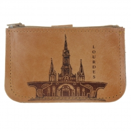 Genuine leather Lourdes coin purse with a zip