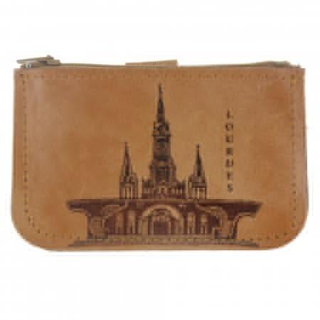 Porte Monnaie de Lourdes en cuir véritable avec un zip
