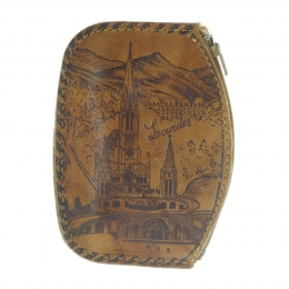 Genuine leather Lourdes Basilica coin purse with a zip