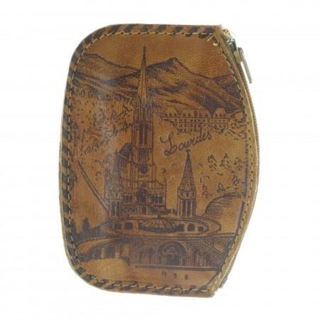 Porte Monnaie de la Basilique de Lourdes en cuir véritable avec un zip