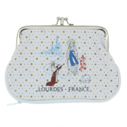 Lourdes coin purse with stars and a snap clasp
