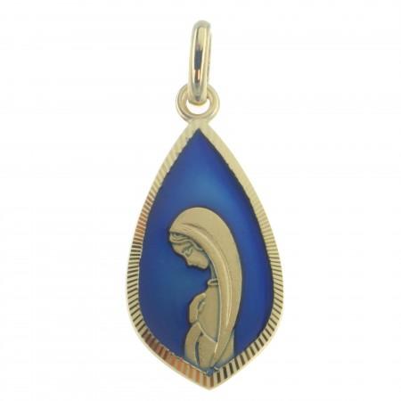 Medaglia Madonna di Lourdes placatta oro 18 carati e fondo blu