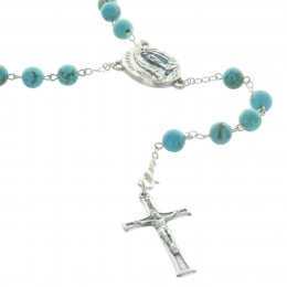 Lourdes Turquoise stone  rosary with a water of Lourdes centerpiece