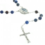Lourdes blue Emperor stone  rosary with  Water of Lourdes centerpiece