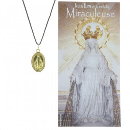 Collier de la Vierge Miraculeuse en corde avec une prière
