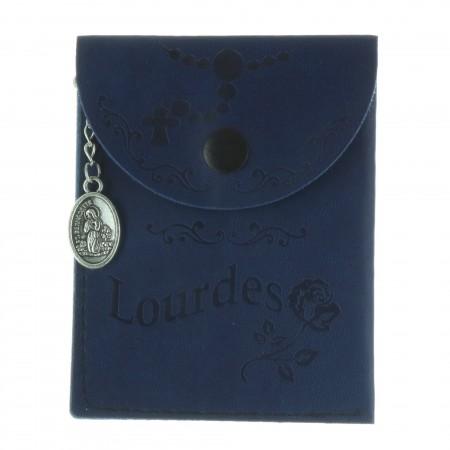 Etui à chapelet en simili cuir avec une médaille de Lourdes