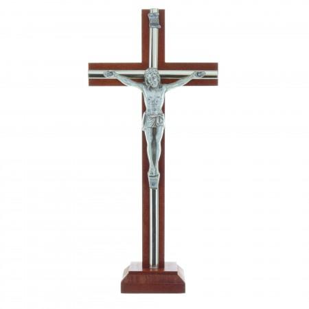Crucifix en bois sur socle, décorations argentées 22cm