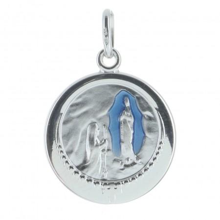 Médaille de Lourdes en Argent émaillée bleu