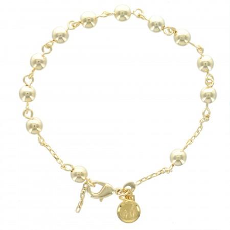 Bracelet Dizainier en Plaqué Or, perles 6mm et médaille de Lourdes