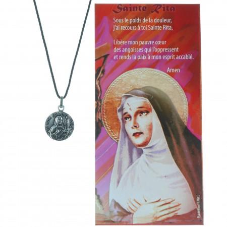 Collier de Sainte Rita en corde avec une prière