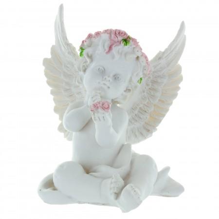 Statue Ange avec une couronne de roses colorée 12cm