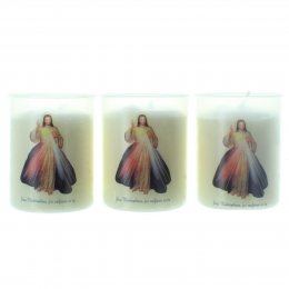 Set of 3 candles of Divine Mercy 6,5cm