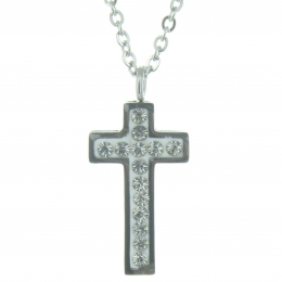 Rhinestone cross pendant and a silver plated chain 48cm