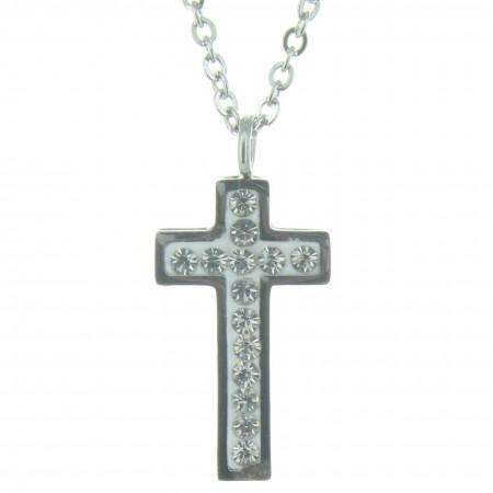 Parure avec un pendentif croix en strass et une chaîne argentée 48cm