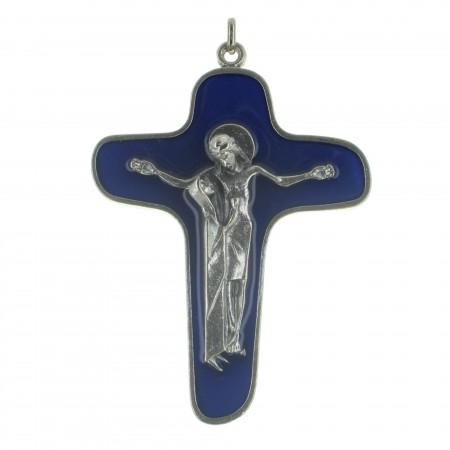 Croix de la Mater Dolorosa en métal et émaillée bleue 9cm
