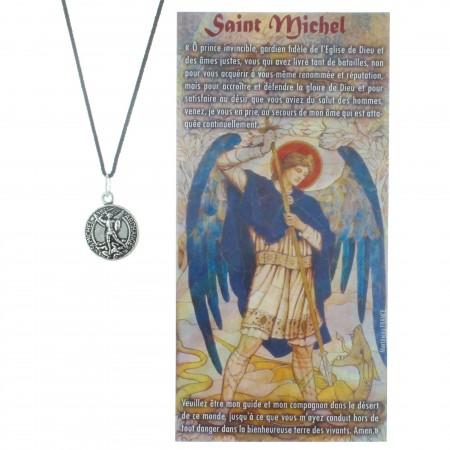 Collier de Saint Michel en corde avec une prière