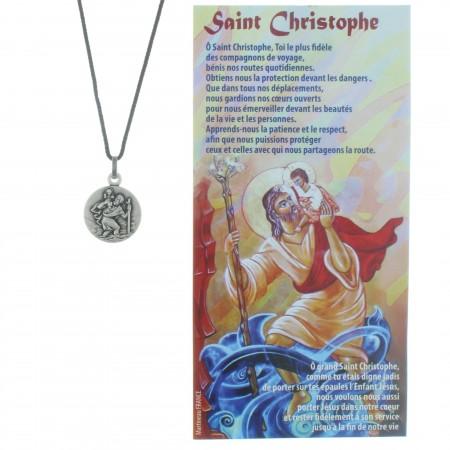 Collier de Saint Christophe en corde avec une prière