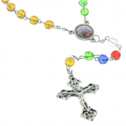 Glass Mission rosary with a Lourdes centerpiece
