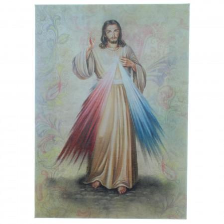 Cadre de Jésus Miséricordieux sur toile imprimée 13 x 18cm