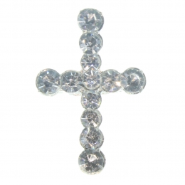 Cross-shaped pin with rhinestones
