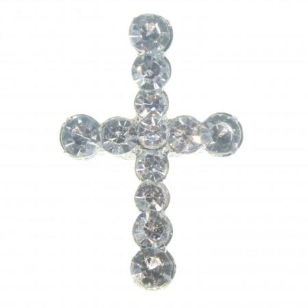 Cross-shaped pin with rhinestones