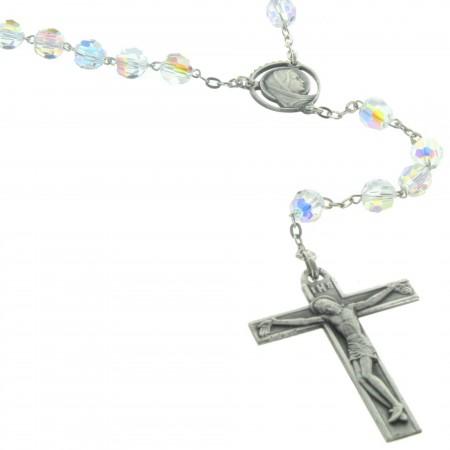 Chapelet de Lourdes en Argent et perles Cristal Swarovski bleu