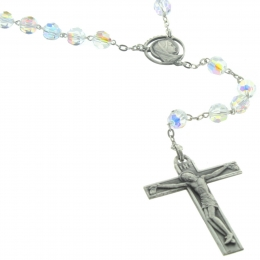 Lourdes Silver Rosary with blue Swarovski Cristal beads