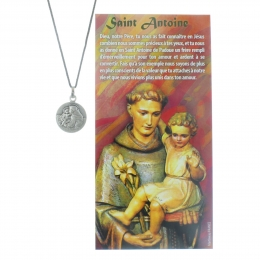 Saint Anthony medal on rope Necklace with prayer