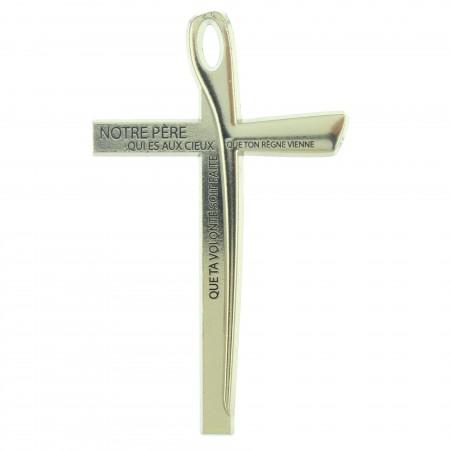 Crocifisso di metallo con la preghiera del Padre Nostro 10cm