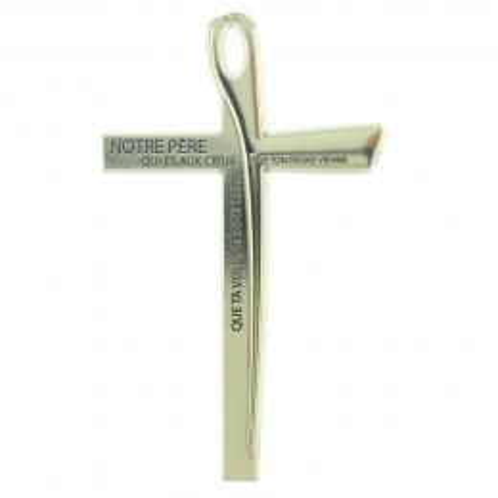 Crucifix en métal avec la prière Notre Père 10cm
