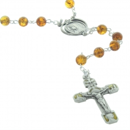 Lourdes Amber Stone Rosary