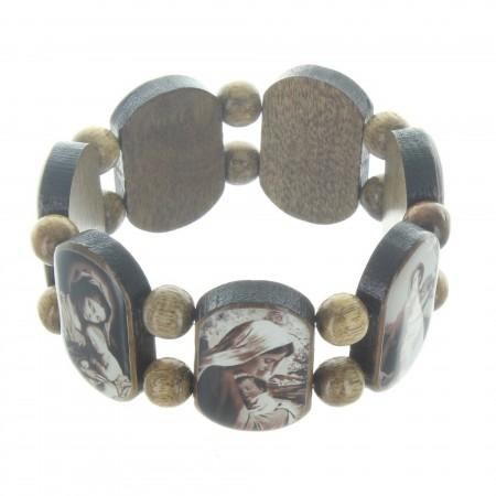Bracelet religieux en bois avec des images de la Vierge
