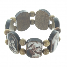 Wooden religious bracelet with images of Our Lady