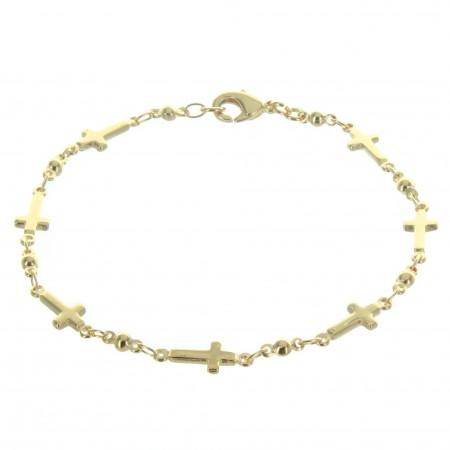Bracciale con croce placcata in oro