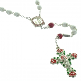 Lourdes Silver rosary and coloured roses