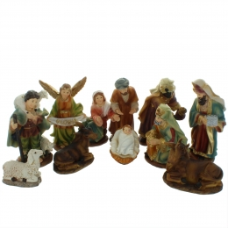 Presepe di Natale completo di 11 soggetti in resina 12cm