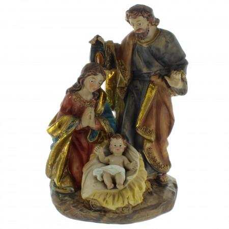 Statua della Sacra Famiglia in resina colorata 20cm