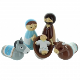 Christmas nativity set 5 wooden figures 8cm
